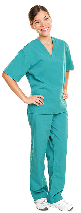 nurse smiling with hands on hips